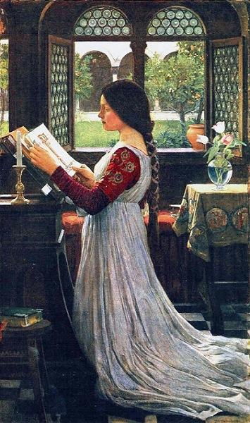 The Missal, by John William Waterhouse (1902), depicts a woman kneeling on a prie-dieu, a piece of furniture with a built-in kneeler John William Waterhouse - The Missal.JPG
