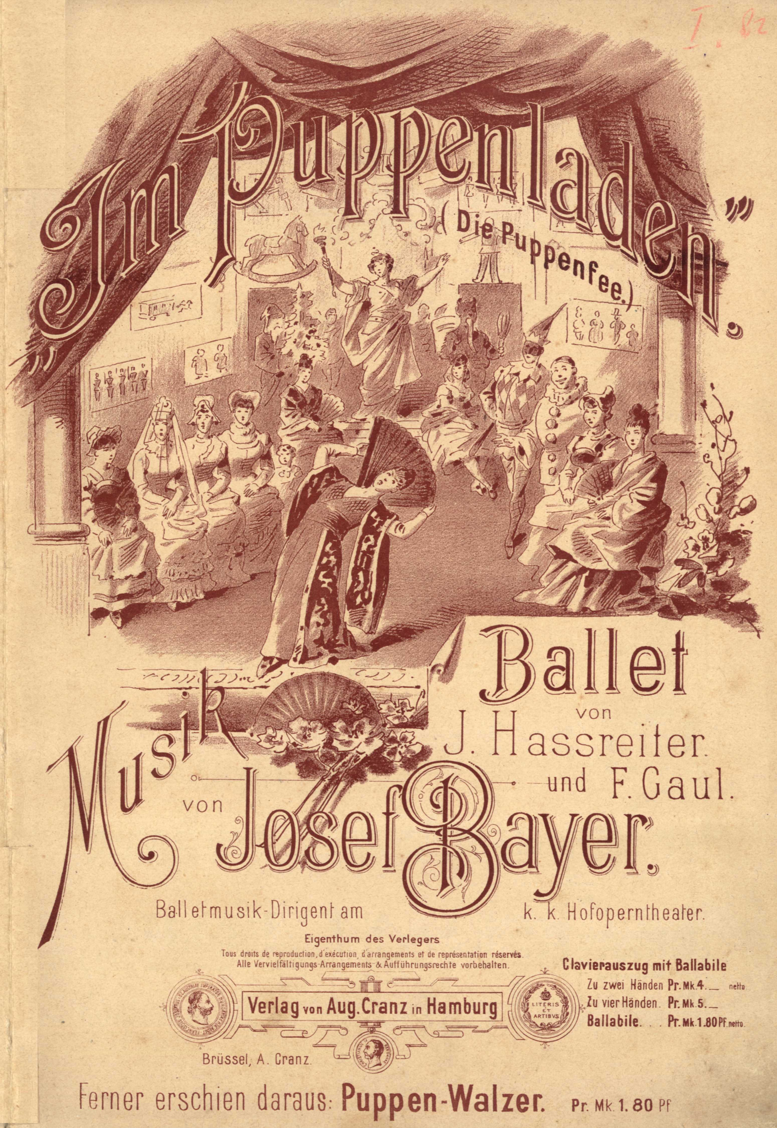 Cover of the piano score of '' Im Puppenladen'', later revised to ''[[Die Puppenfee
