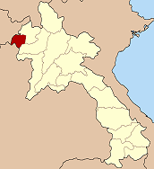 Map of Laos highlighting ខេត្តបកែវ Province}