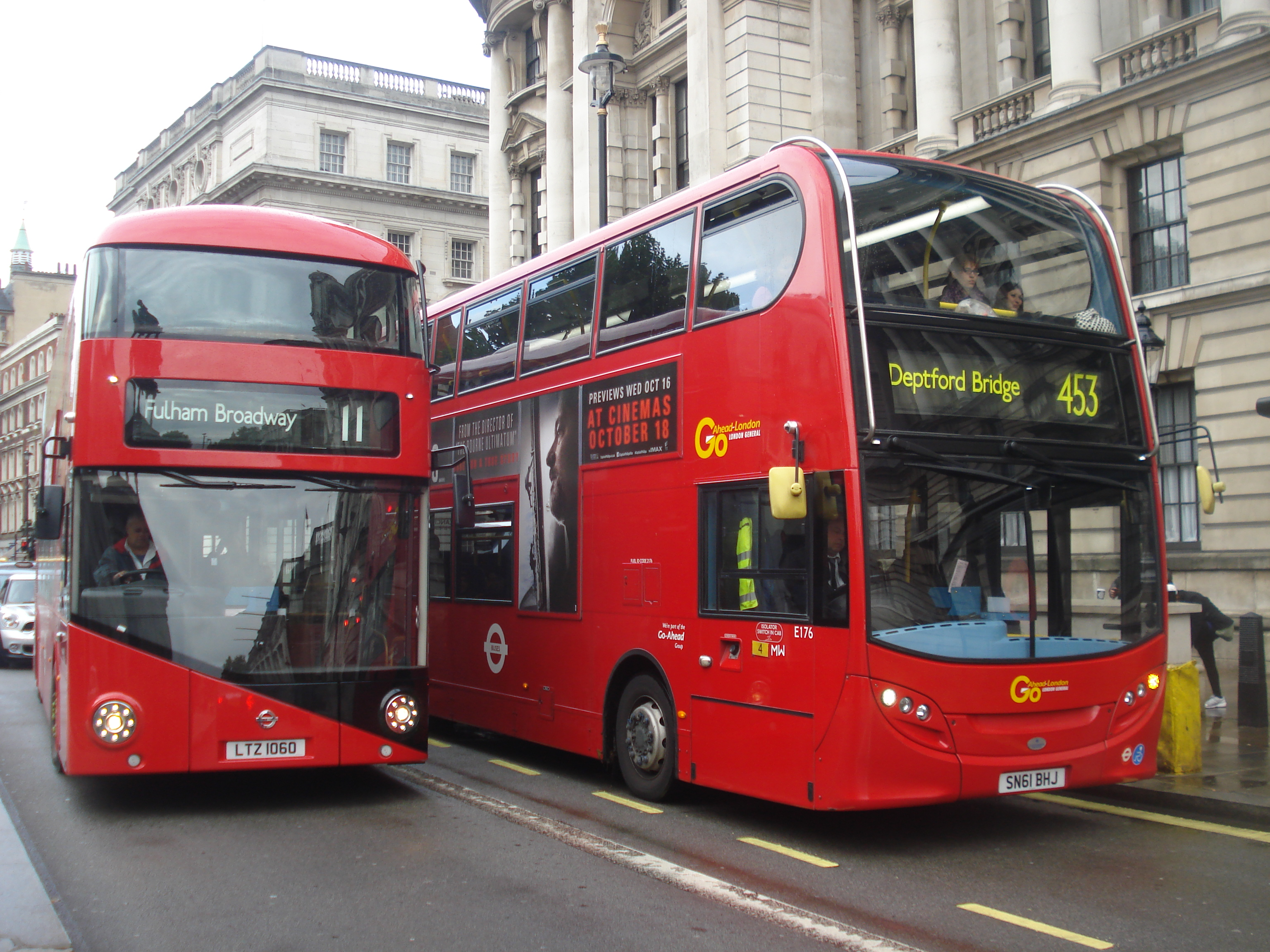 New Routemaster overtaking the Enviro400 for the 453
