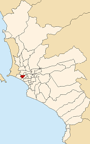 Location of Pueblo Libre in the Lima province