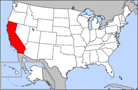 Mapa ning United States with California highlighted