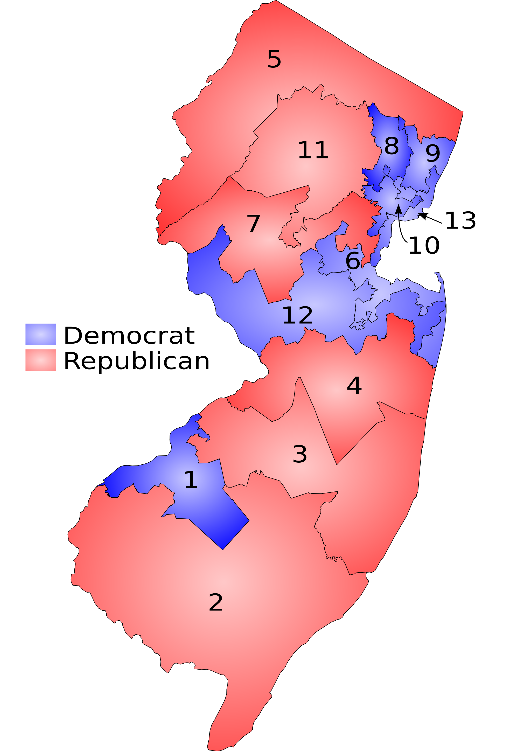 FileNJ 109th Congressional Districts Shaded By Partypng