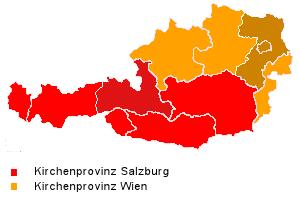 Karte der Kirchenprovinzen in Österreich
