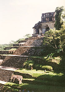 Temple of the Cross at Palenque.  Note the intricate roof comb and corbeled arch.