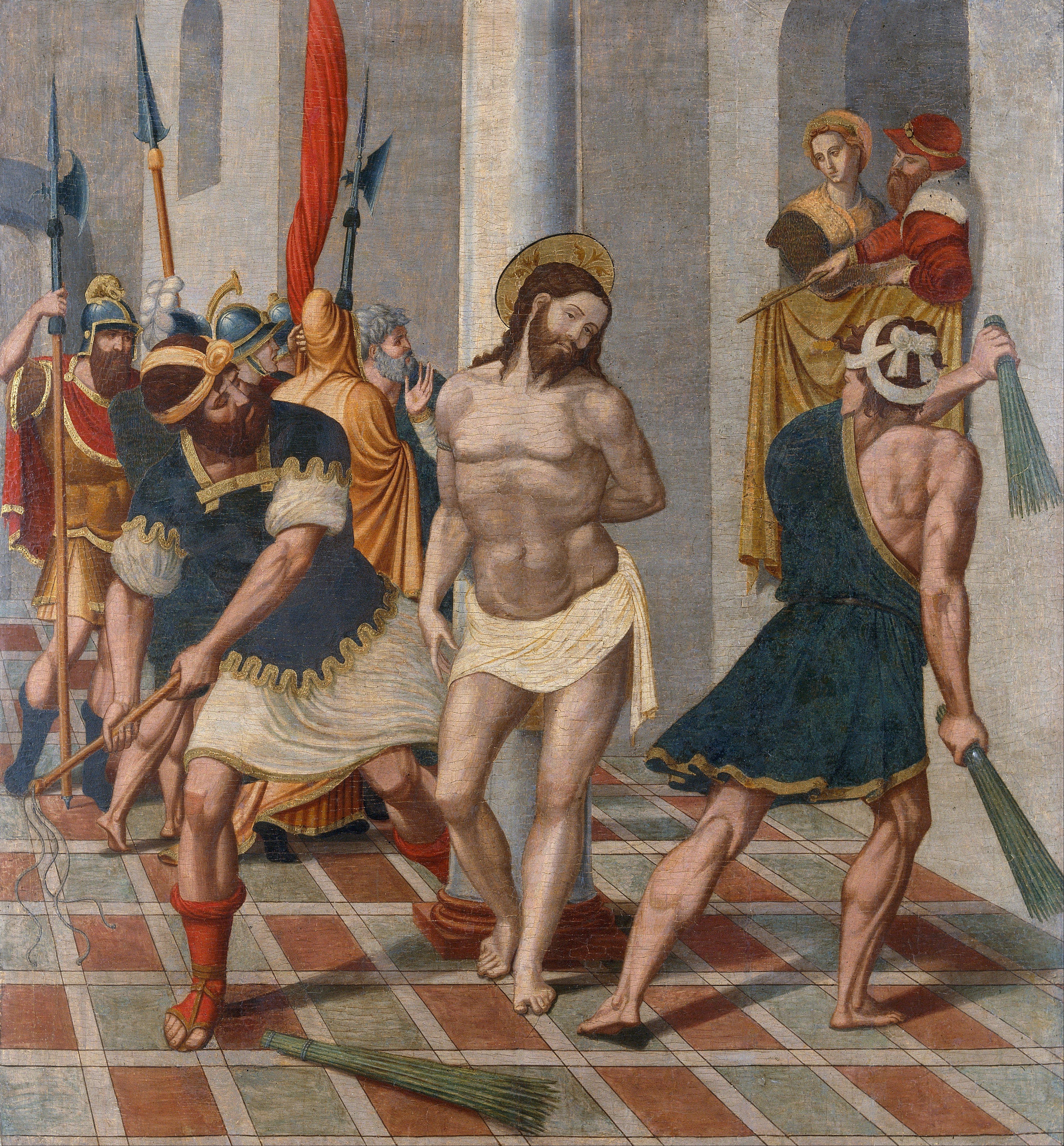 La flagelación de Cristo, temple y óleo sobre tabla, 110,7 x 103,2 cm, Barcelona, MNAC.