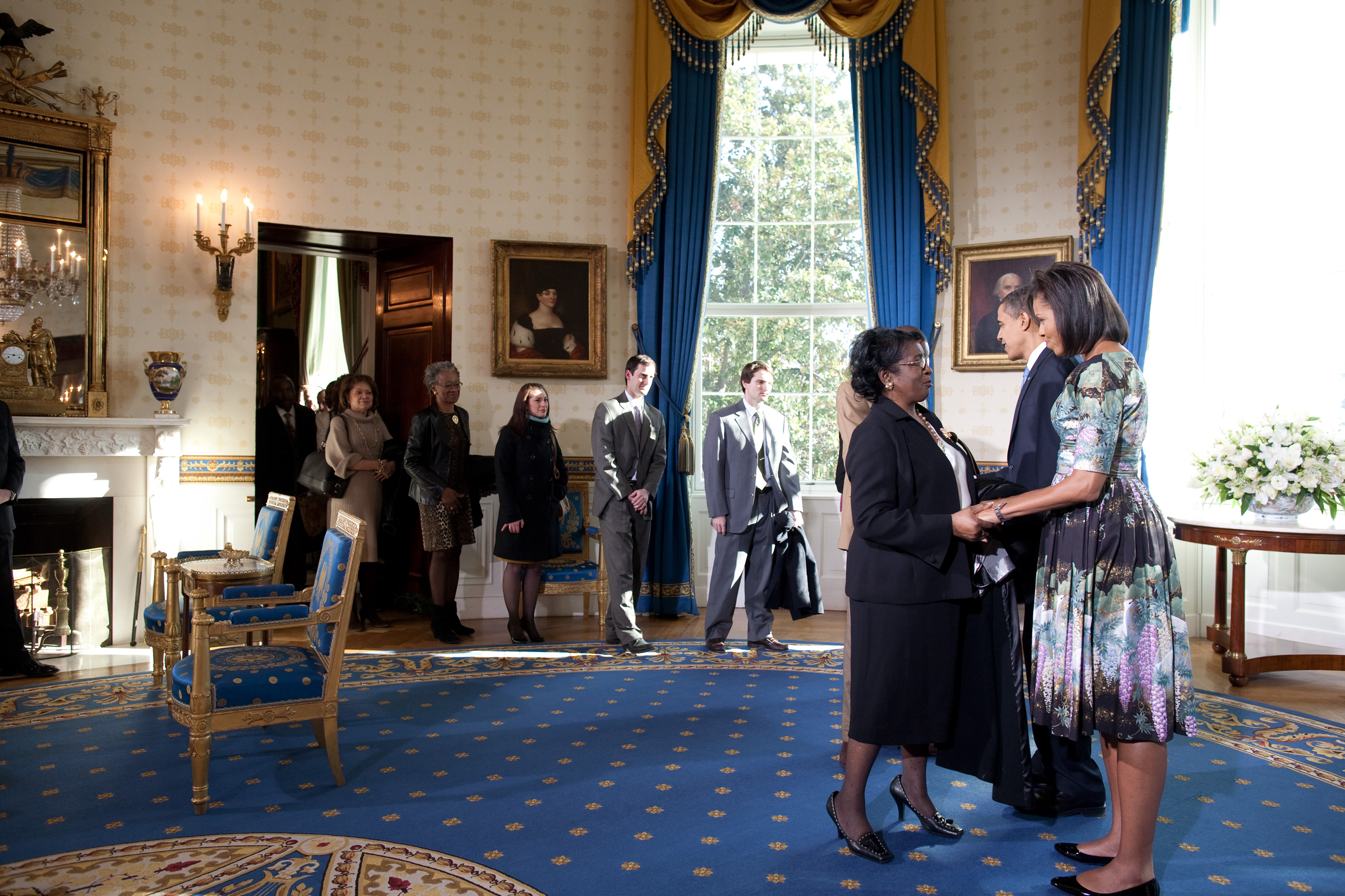 File president barack obama and first lady michelle obama for The blue room