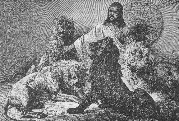 Tewodros giving audience, surrounded by lions. ST-Theodore.jpg