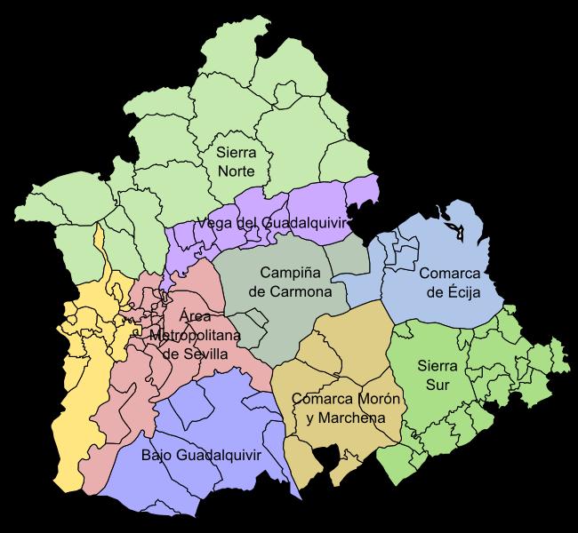 Provincia De Sevilla Mapa.Archivo Sevilla Por Comarcas Png Wikipedia La