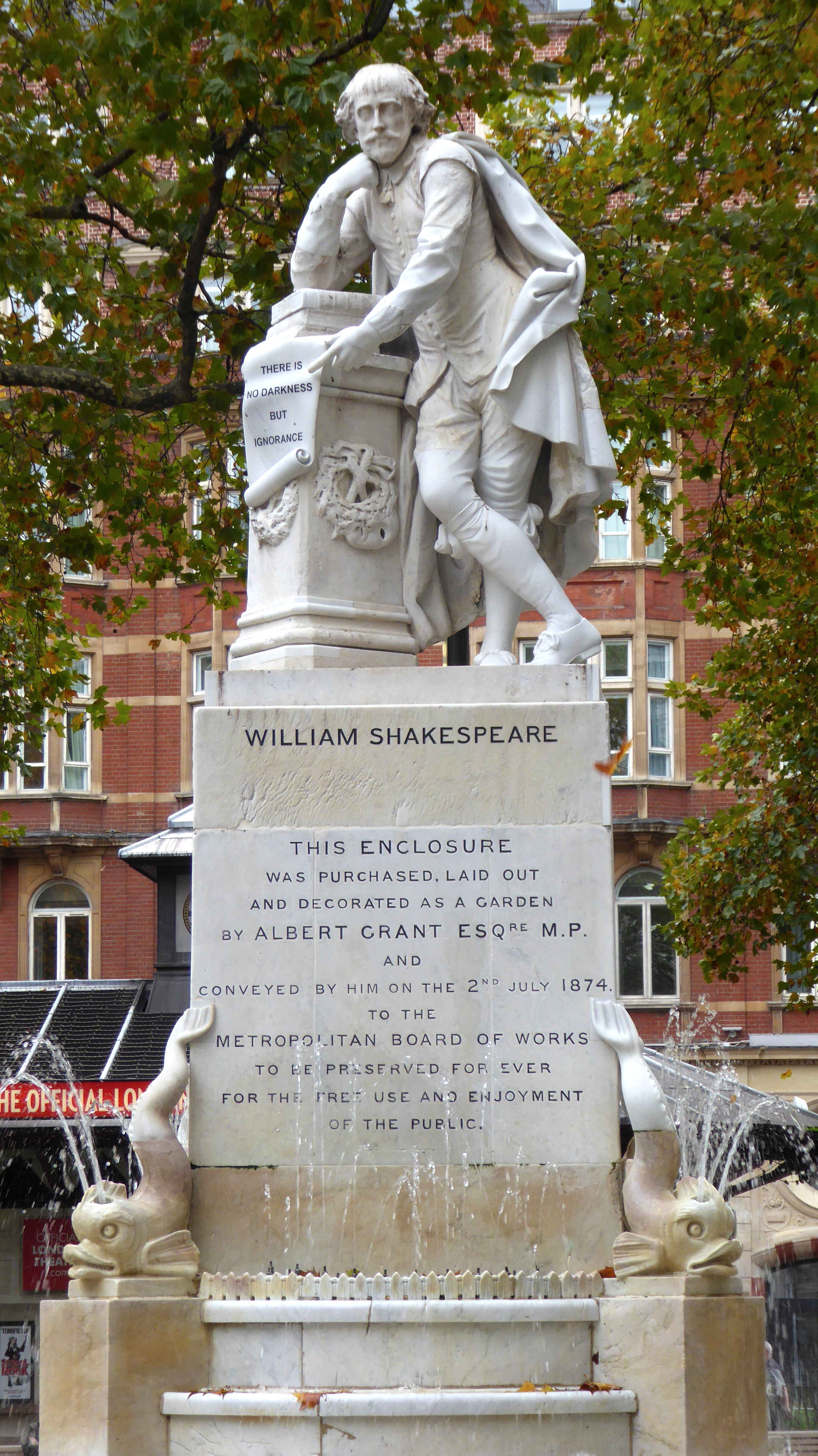 Statue Of William Shakespeare Leicester Square Wikipedia