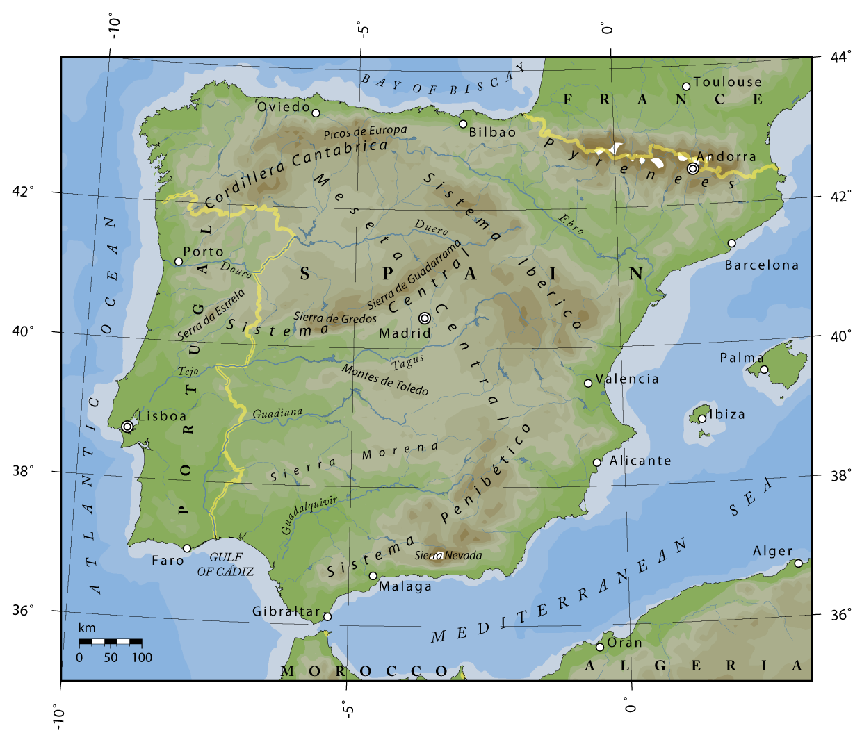 Topographical Map Of Spain.File Spain Topography Png Wikimedia Commons