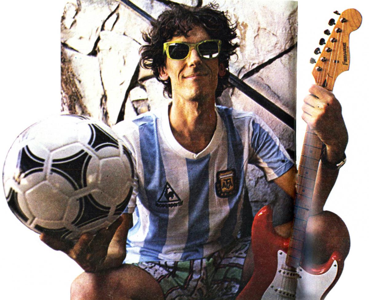 Spinetta en 1989, en una foto para la revista deportiva El Gráfico.