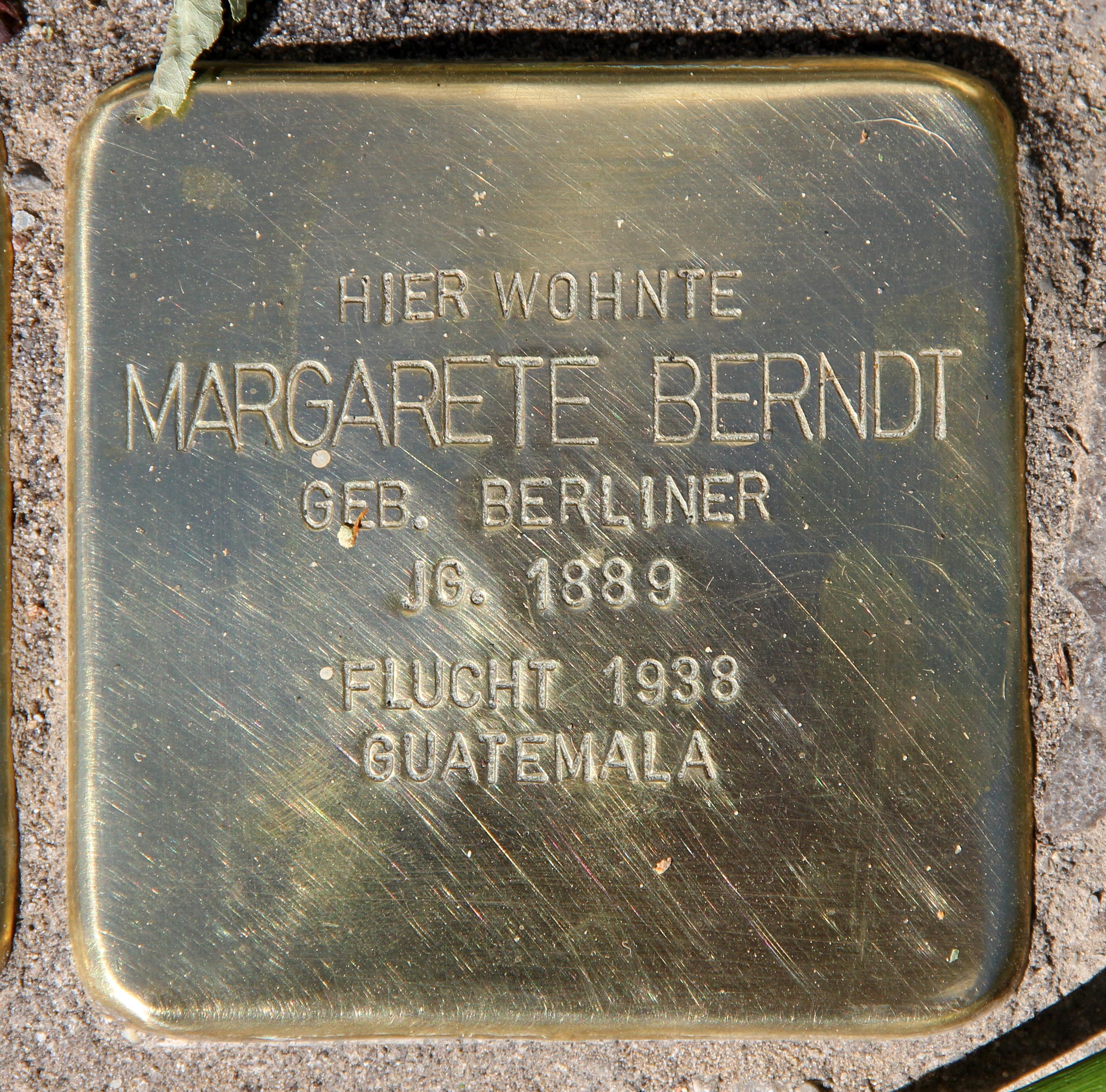 Datei Stolperstein Kuno Fischer Str 14 Charl Margarete Berndt Jpg