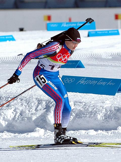 Коньковый ход российской биатлонистки Светланы Ишмуратовой на Олимпиаде-2006