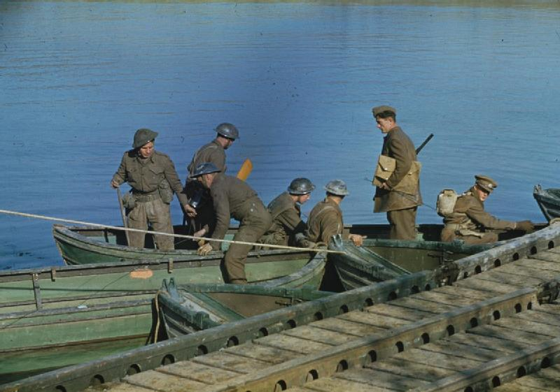 Royal Engineers repairing shelled parts of the pontoon bridge