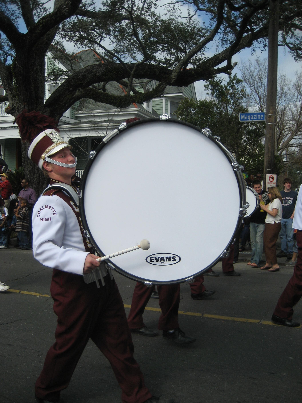 A drum produces sound via a vibrating membrane.