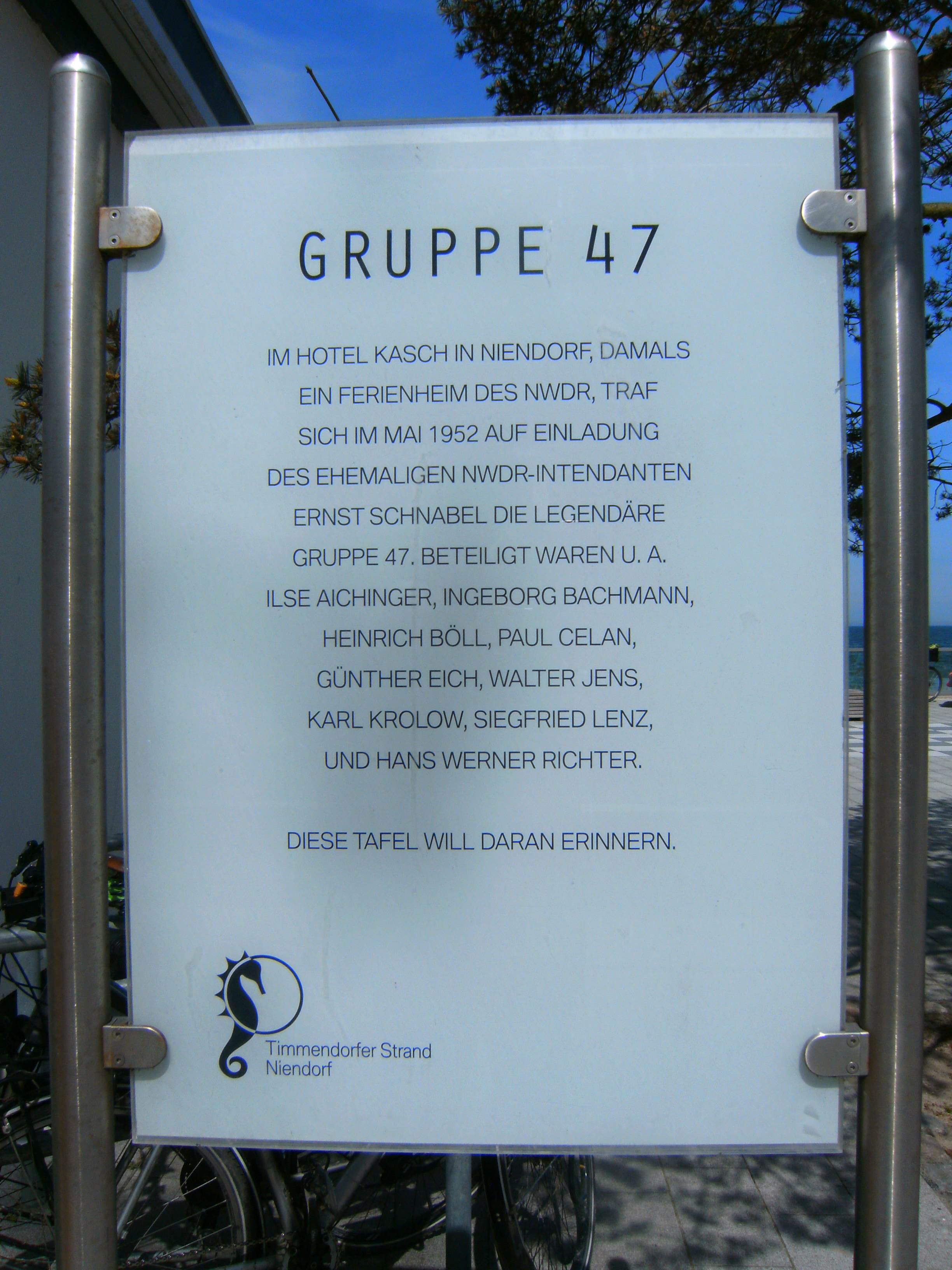 File Timmendorfer Strand Niendorf Promenade Gruppe 47 Plaque Jpg
