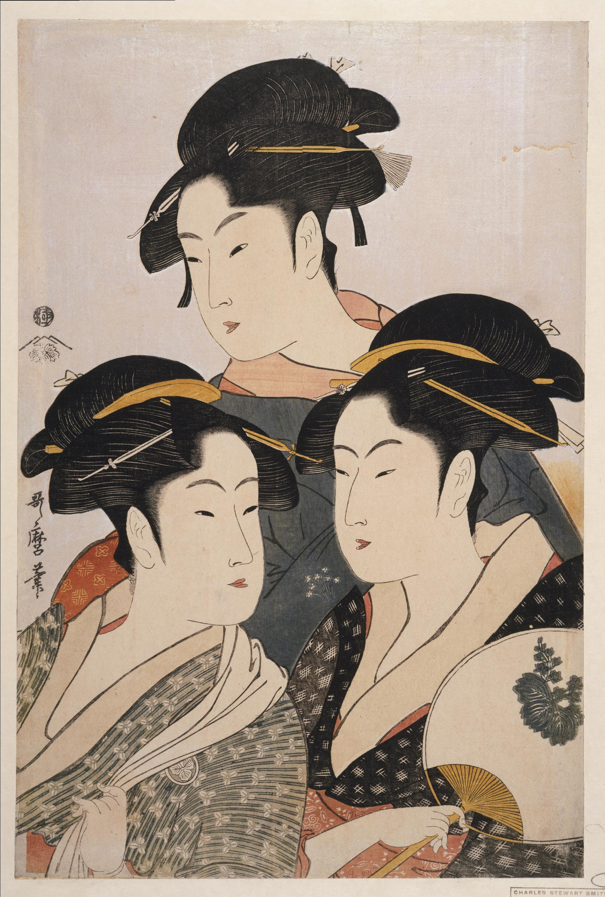 """Three known beauties (寛政三美人)"", ukiy..."