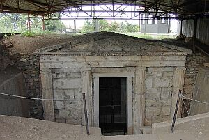 The entrance to one of the royal tombs at Vergina, a UNESCO World Heritage site