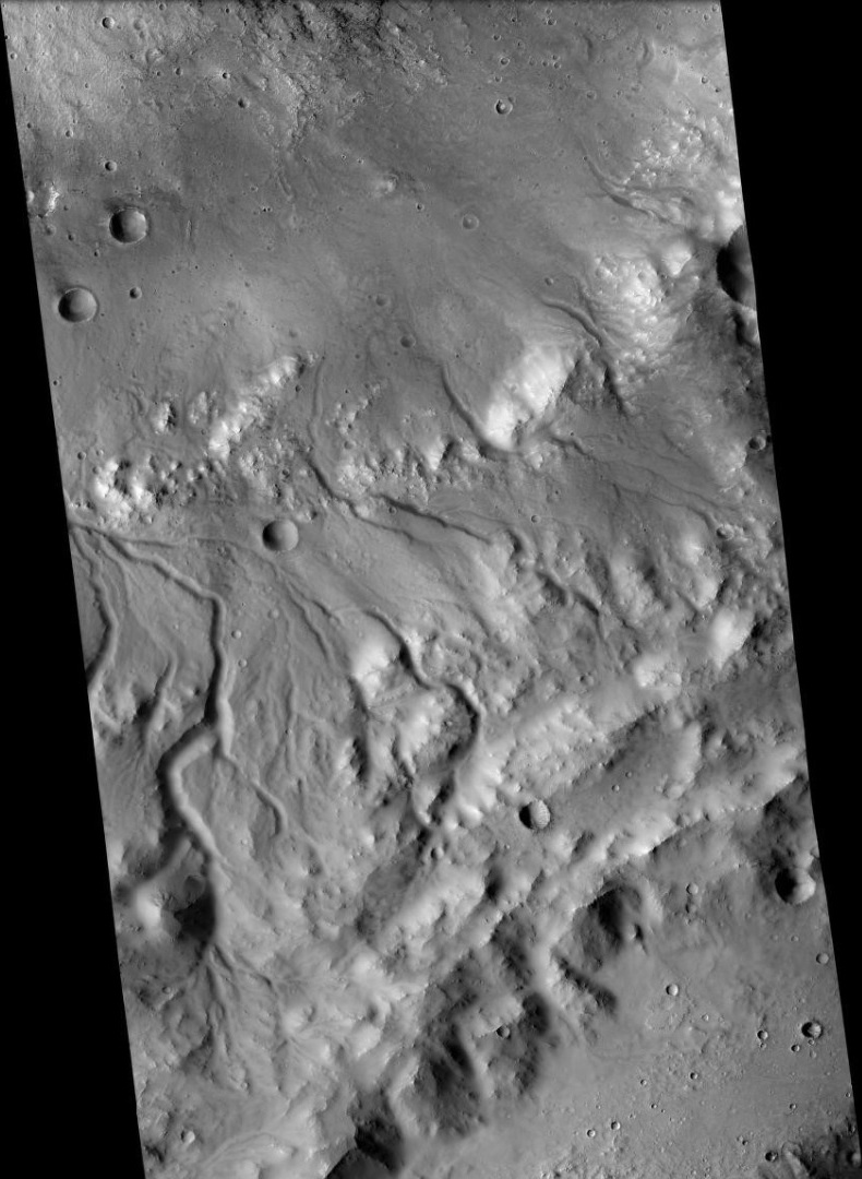 Channels on south rim of Bakhuysen Crater, as seen by CTX camera (on Mars Reconnaissance Orbiter). Note: this is an enlargement of the previous image of Bakhuysen Crater.