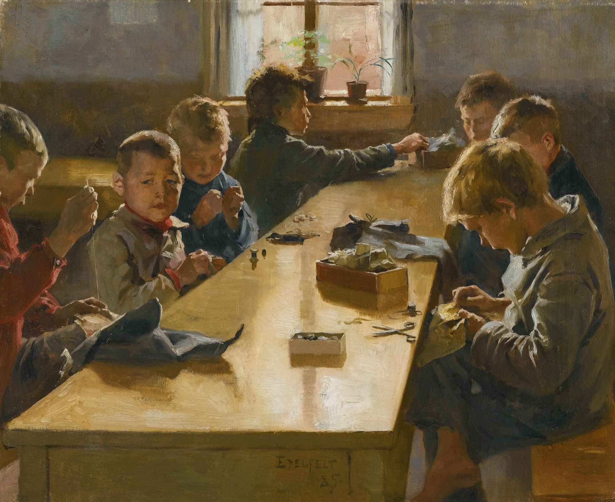 Painting of boys at work
