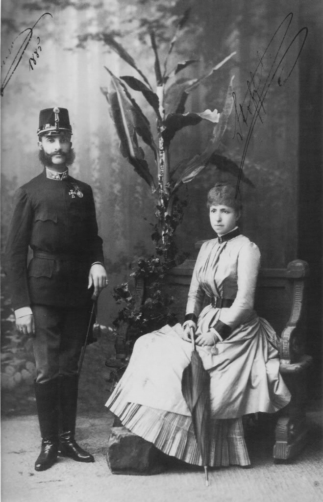 Alfonso XII with his second wife.jpg