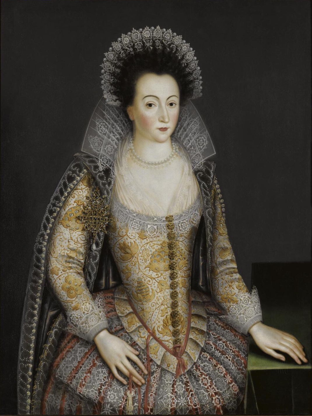 Portrait tentatively identified as Alice Spencer, painted by an unknown artist in the circle of [[Marcus Gheeraerts the Younger]]