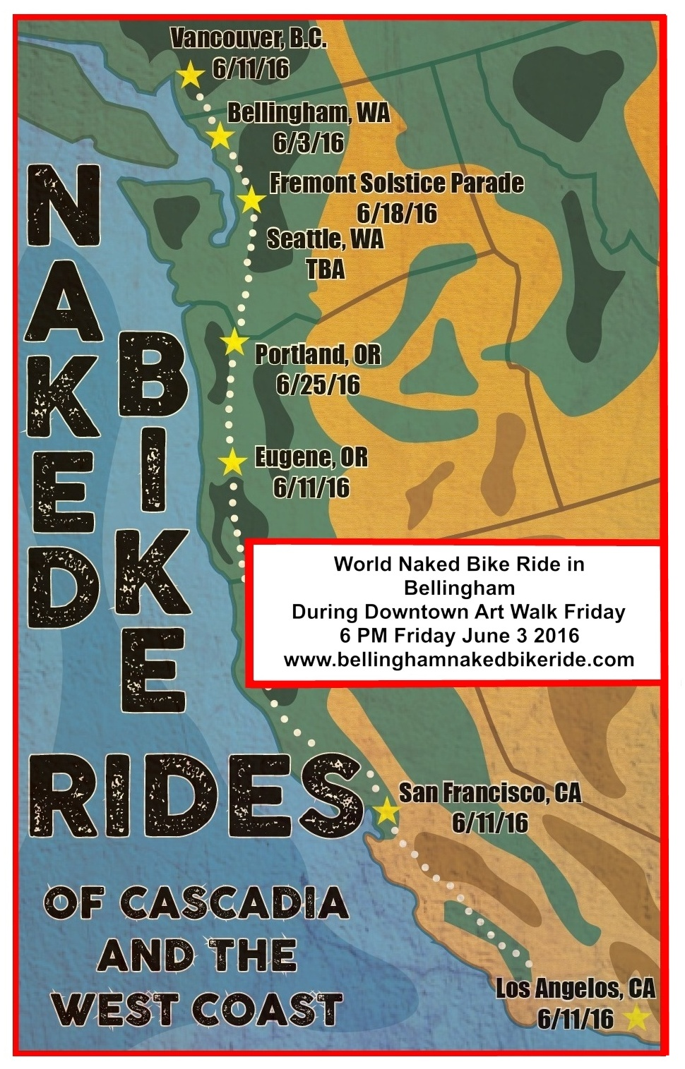 FileBellingham And Other Cities On USA West Coast With WNBR Ride - Us West Coast Map With Cities