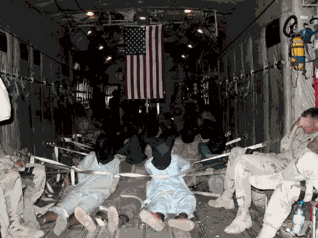 Bound, hooded captives, being flown to Guantanamo