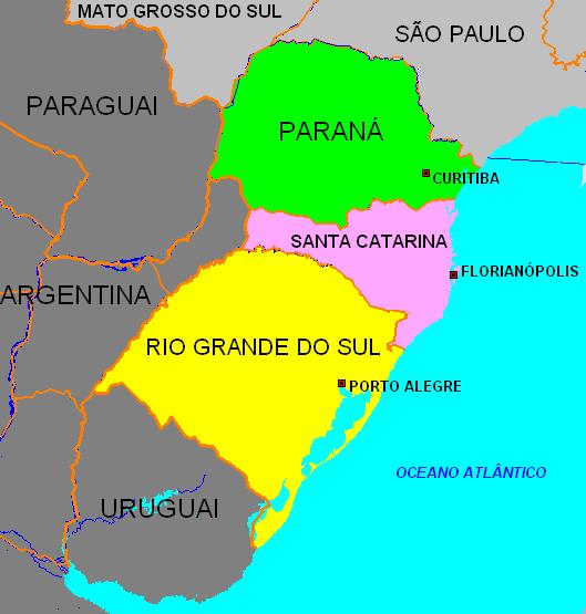 Resultado de imagem para brasil região sul mapa