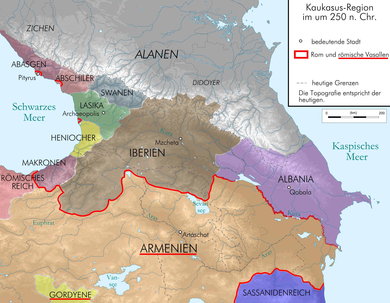 Caucasus 250 AD map alt depng Atlas