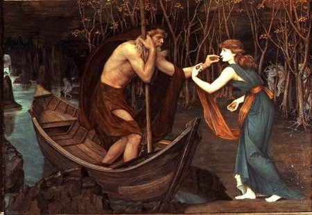 An image of Charon taking a coin from Persephone in Greek mythology, an early example of money folklore.
