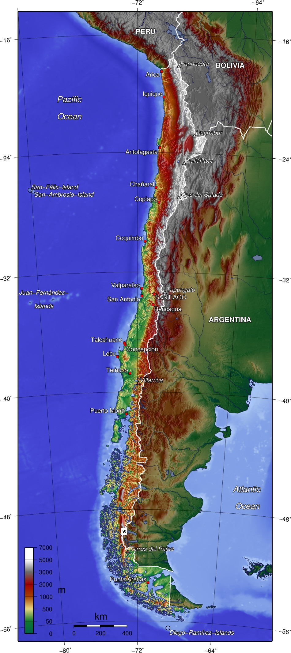 South America Map Borders%0A Topographic map of Chile