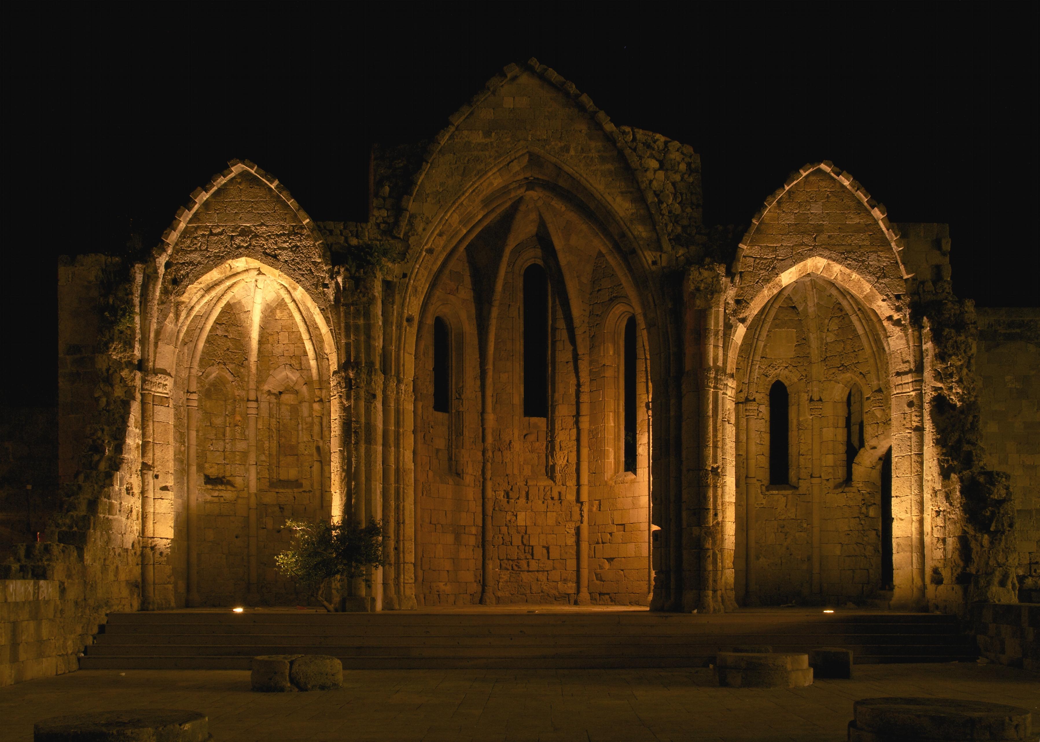 Church of the virgin of the burgh Rhodes 14th century night.jpg
