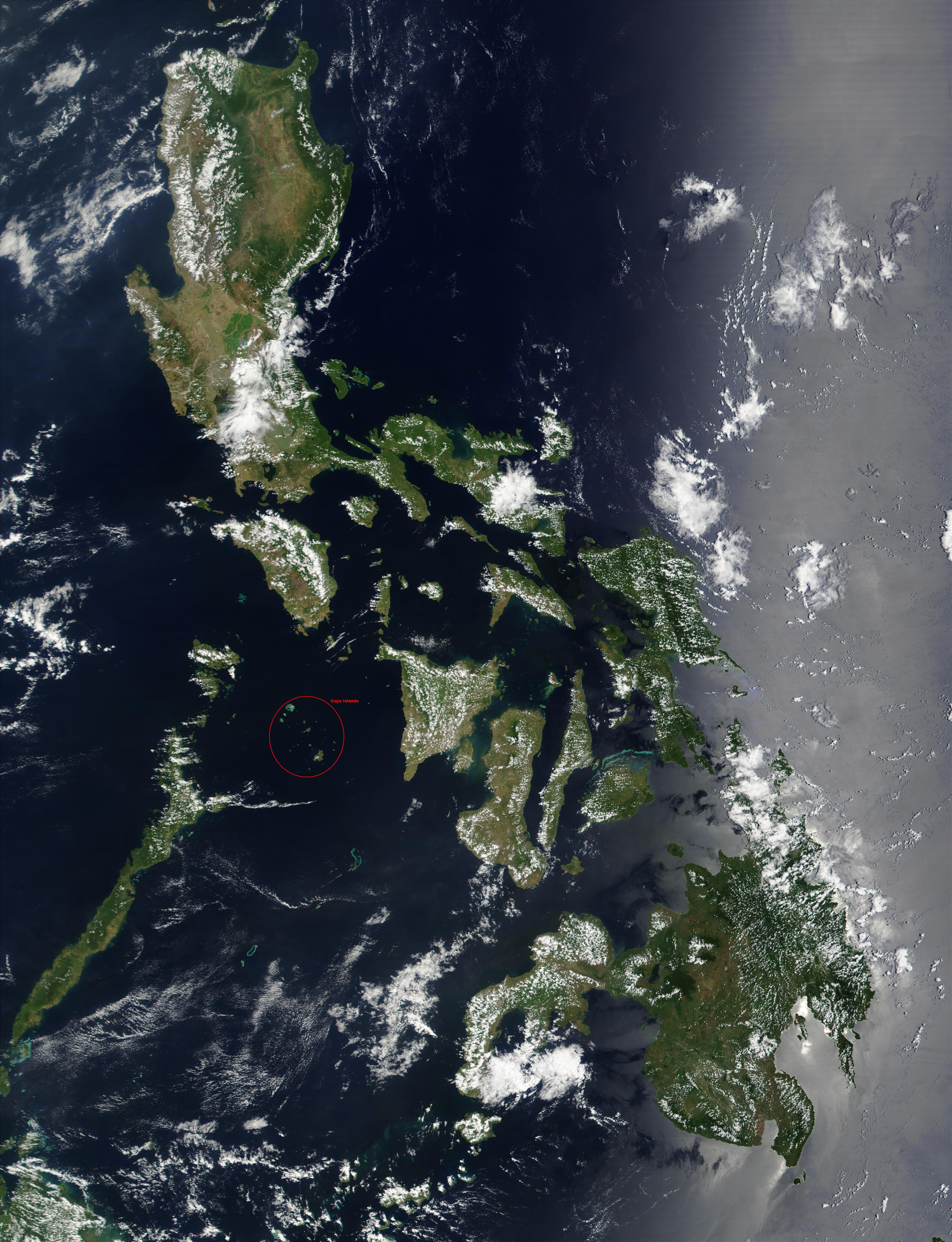 File:Cuyo Islands - Satellite image of Philippines in ...