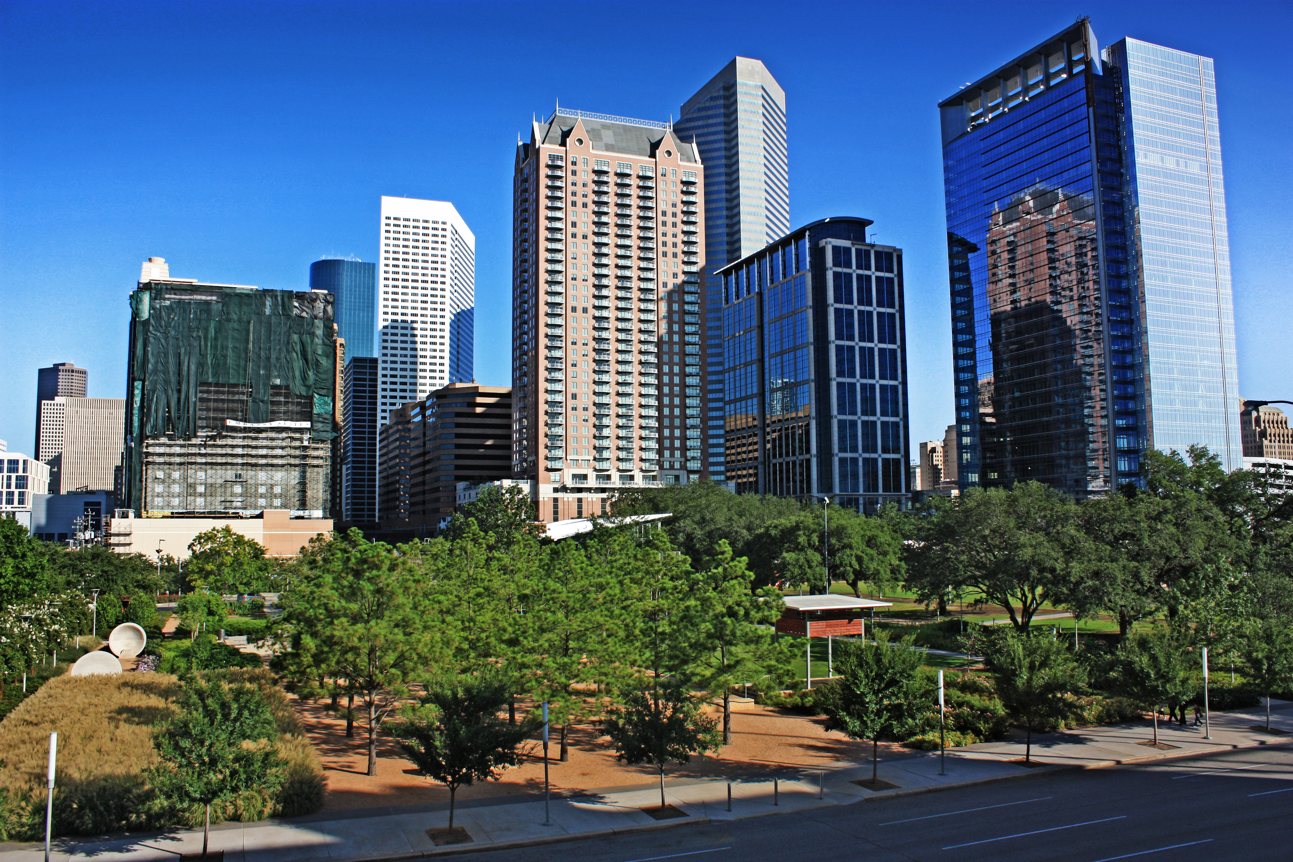 Discovery Green park in downtown.