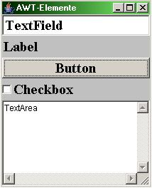 Abstract Window Toolkit standard Java library for graphical user interfaces, succeeded by Swing