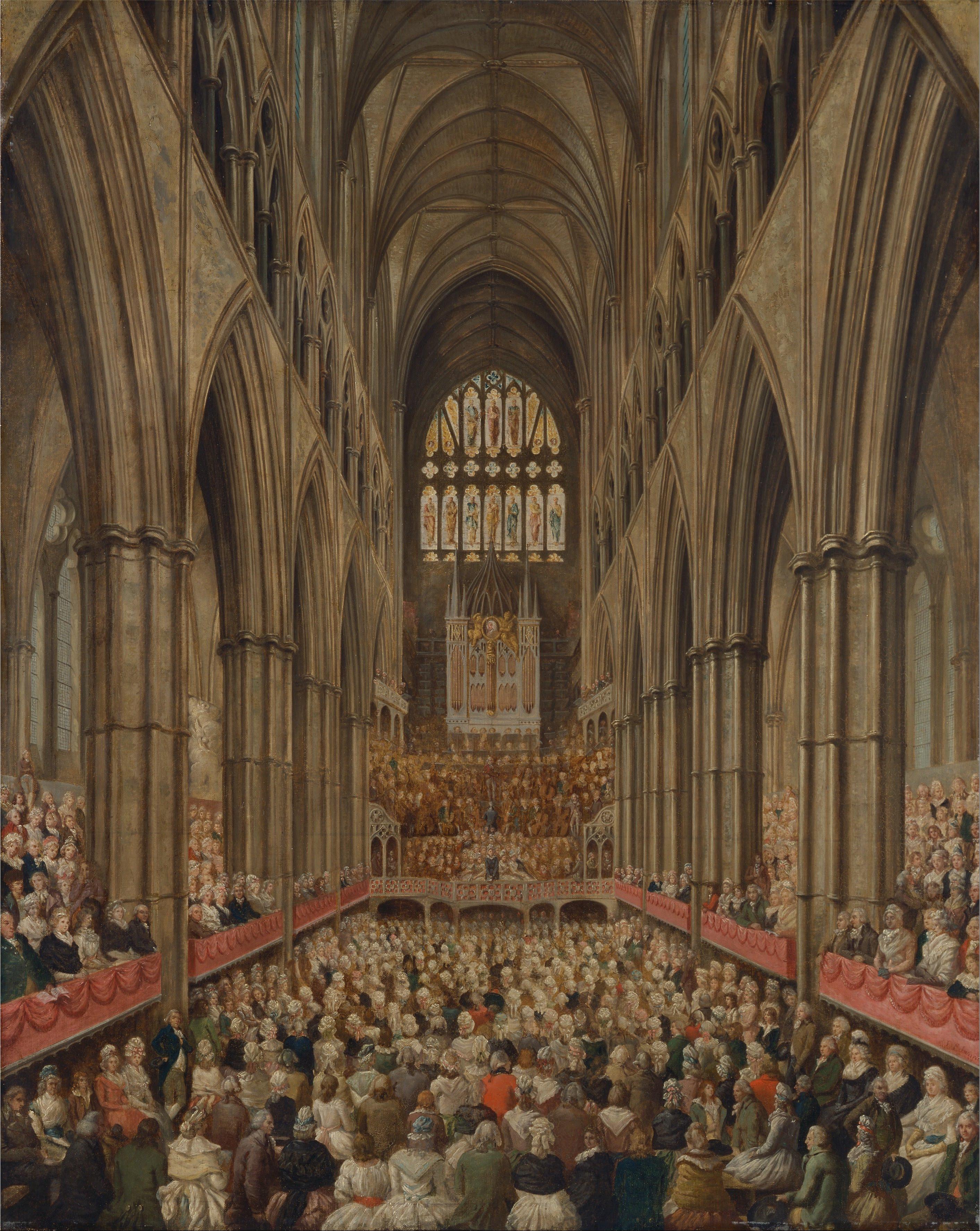 Vista del interior de la abadía de Westminster en la Conmemoración de Händel, tomado de la caja del director, Edward Edwards, ca. 1790. Centro de Arte Británico de Yale.