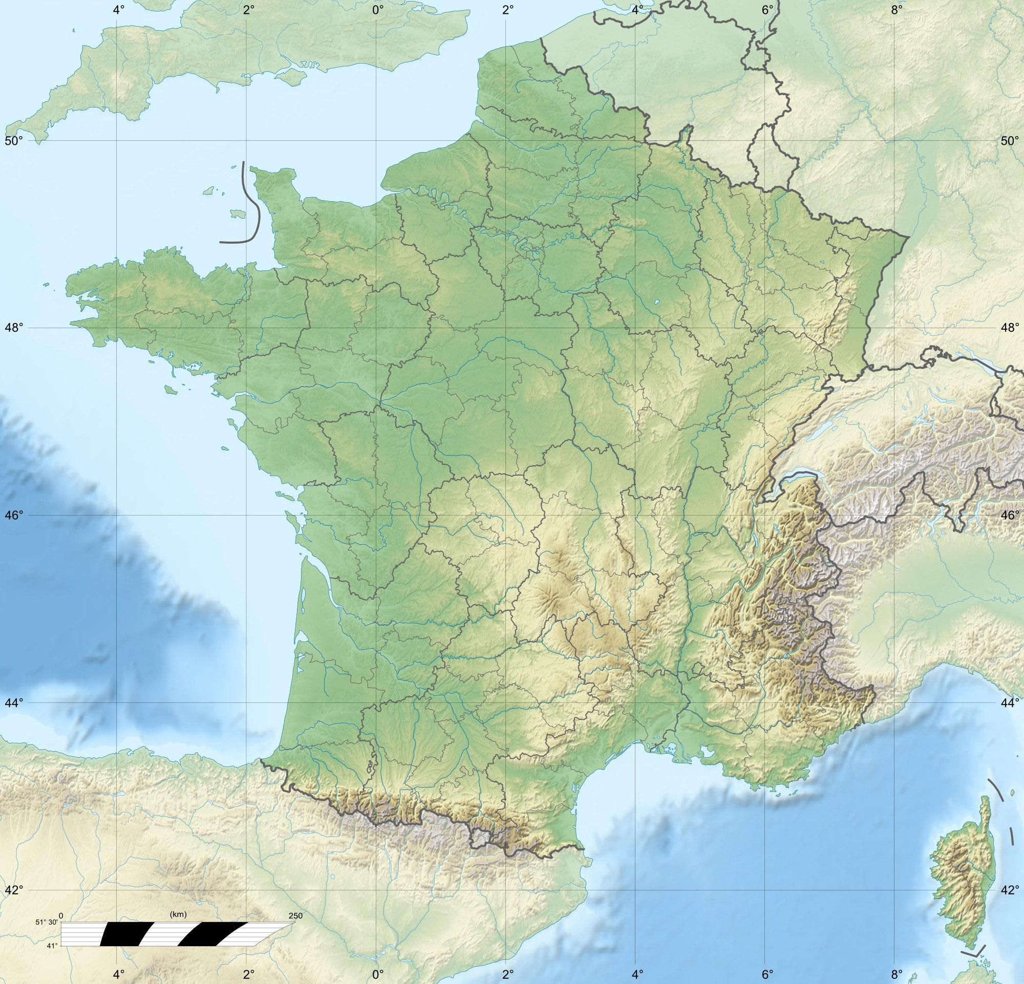 carte de france en relief File:France relief location carte regions et departements.png
