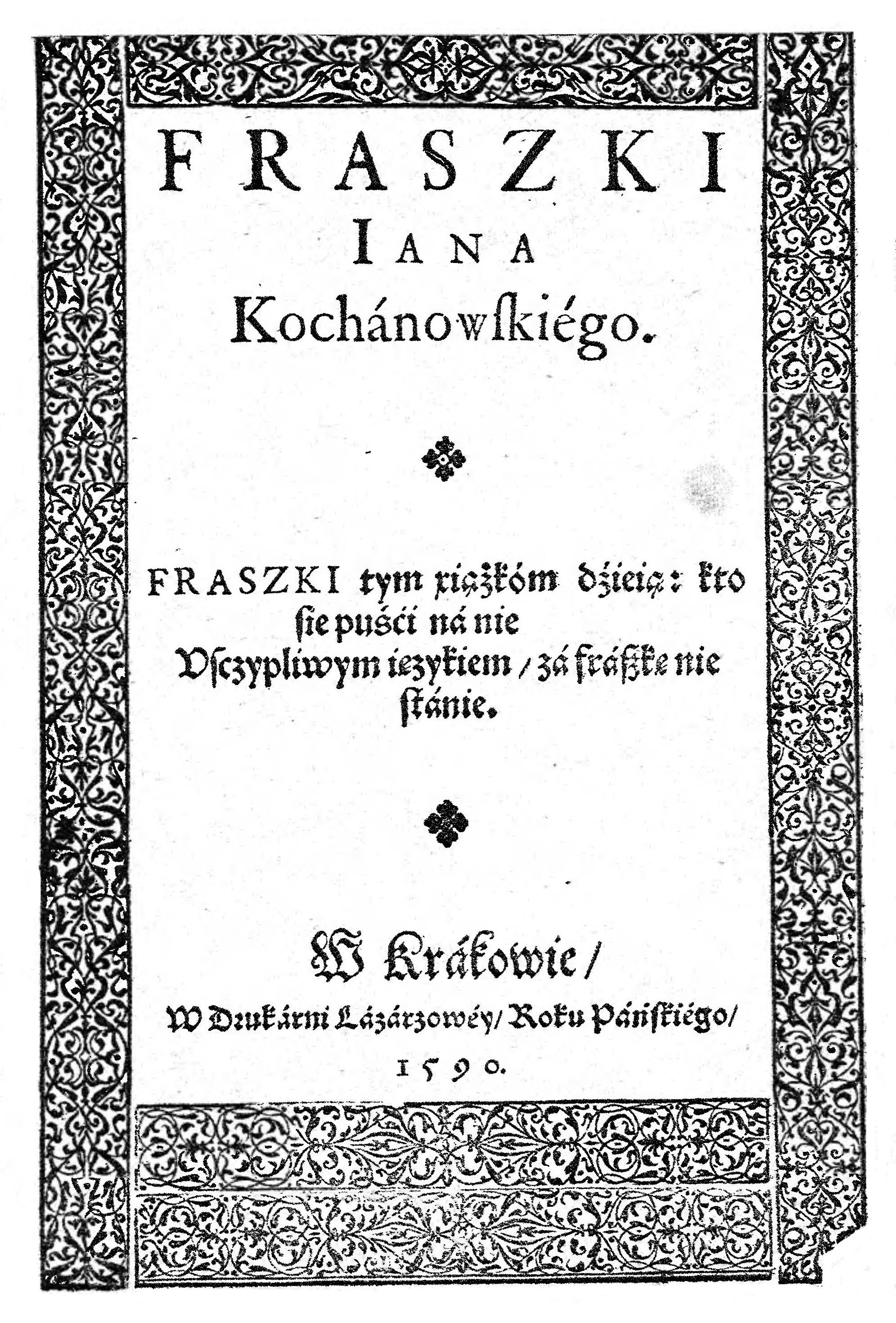 Fraszki Kochanowski Wikipedia Wolna Encyklopedia