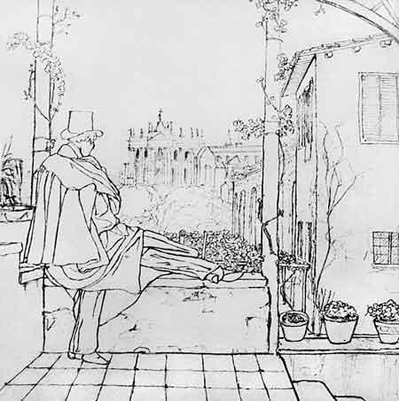 Гоголь на вилле Зинаиды Волконской. Рисунок В. А. Жуковского. Рим. 1839
