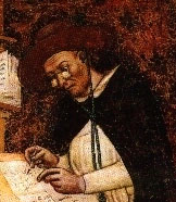 Detail of a portrait of the Dominican Cardinal and renowned biblical scholar Hugh of Saint-Cher painted by Tommaso da Modena in 1352