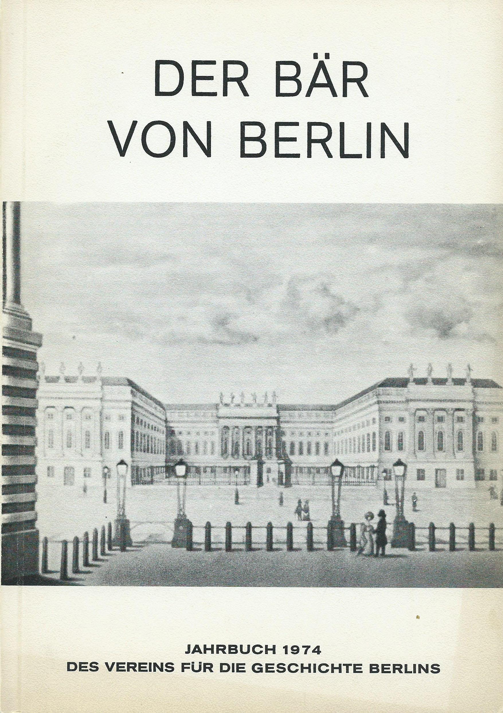 Dateijahrbuch Verein Für Die Geschichte Berlins Deckblatt 1974jpg