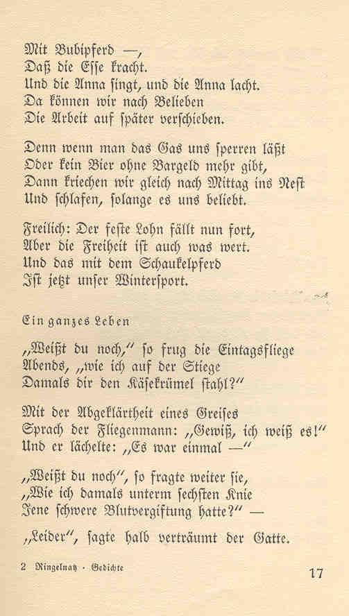 Ringelnatz gedicht arbeit