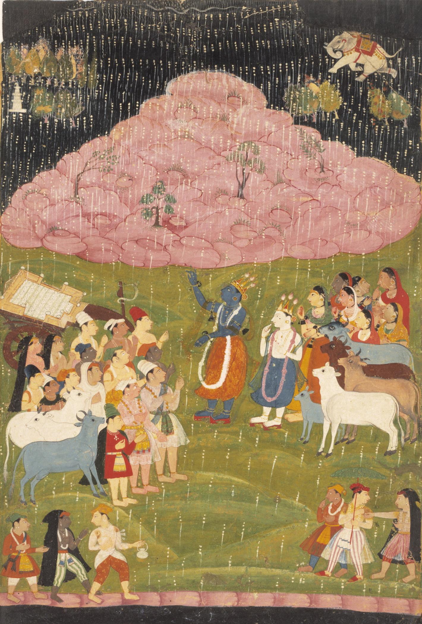 File:Krishna raising Mount Govardhan, Bhagavata Purana,ca 1640.jpg ...
