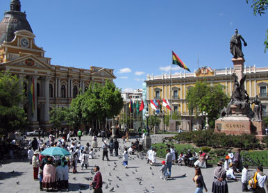 The government building of the National Congress of Bolivia at the Plaza Murillo in central La Paz LaPaz Plaza Pedro Di Murillo 10.2004.jpg