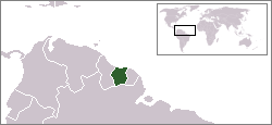 Location of Suriname
