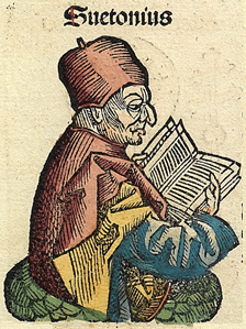 A fictitious representation of Suetonius from the 15th-century Nuremberg Chronicle[7]