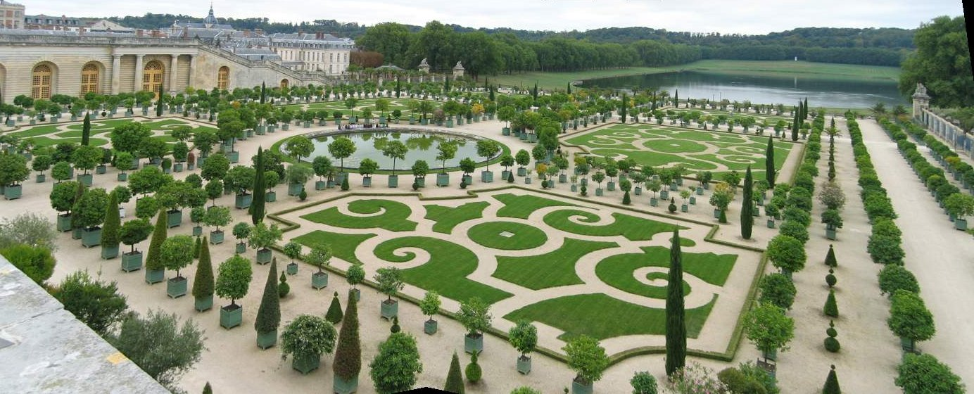 File panorama orangerie de wikimedia commons for Jardin chateau de versailles