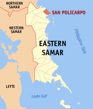 Map of Eastern Samar showing the location of San Policarpo